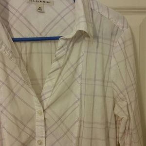 White and lilac plaid button up