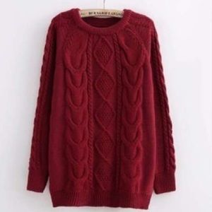 Sweaters - Burgundy cabled knitted sweater