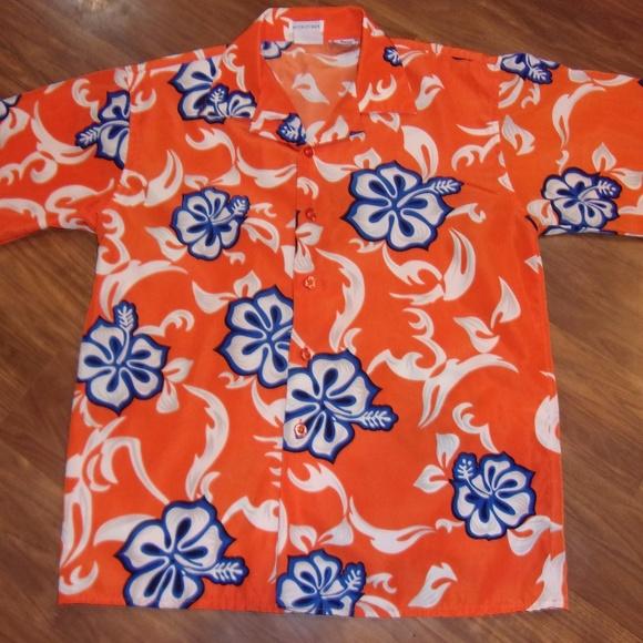 81a8d9c96 Wave Runner Boys Orange and Blue Hawaiian Shirt. M_59a232b6bcd4a7610a03ba3f