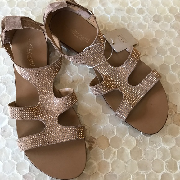 4a30002059e456 NWOB A.Giannetti Brown w  Gold Sparkle Sandals