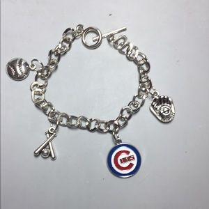 Handcrafted Chicago Cubs Charm Bracelet