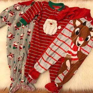 Bundle of 3 Zip Up Fleece Christmas Footie Pjs 12M