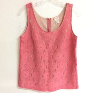 H&M pink lace top with back zip