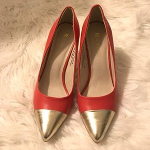 "Restricted Shoes - Restricted 4"" melon colored heels with gold tips"