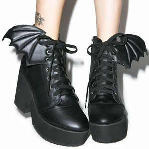 Iron Fist Bat Wing Platform Boots Black Ankle Goth