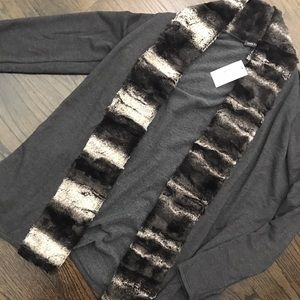 NWT Saks Fifth Avenue Gray Cardigan Fur Collar