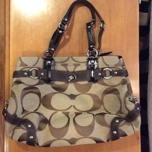 Coach brown fabric & leather bag & wallet NWOT
