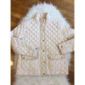 J. Crew quilted gold button jacket size Large