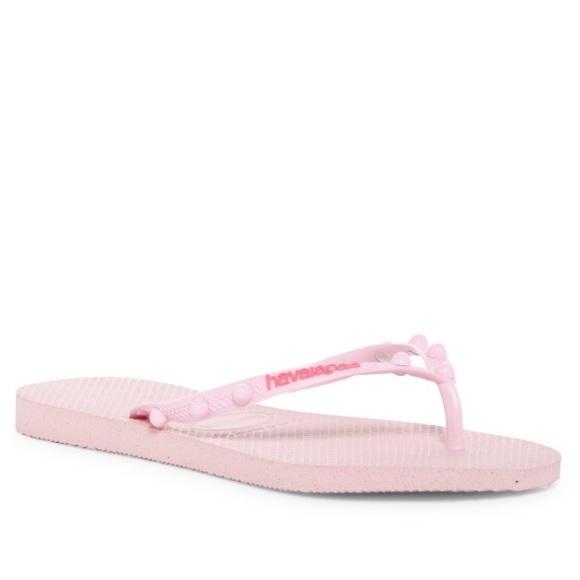 7ffd756bb HAVIAIANAS~Crystal Rose~Candy Logo Flip Flops~9 10