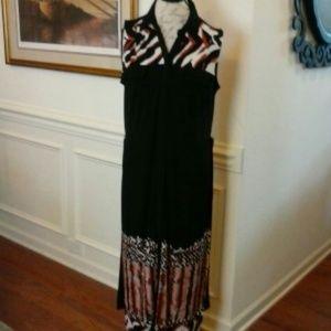 Dana Buchman Maxi Black Print Dress Sleeveless L