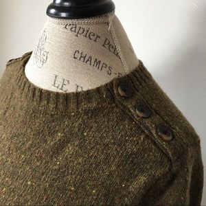 J.CREW Wool Buttoned Crewneck Sweater LARGE