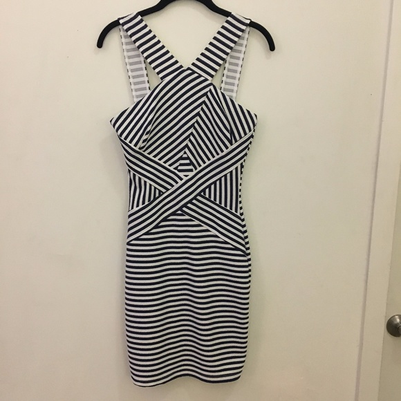 Mystic Dresses & Skirts - CUTE Criss Cross Navy & White Striped Dress