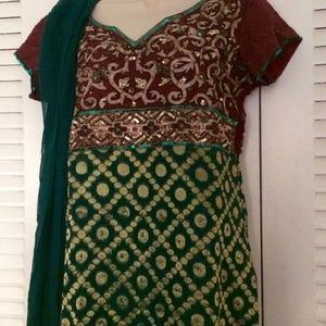 Dresses & Skirts - Green & brown sequined Indian salwar Kameez Small