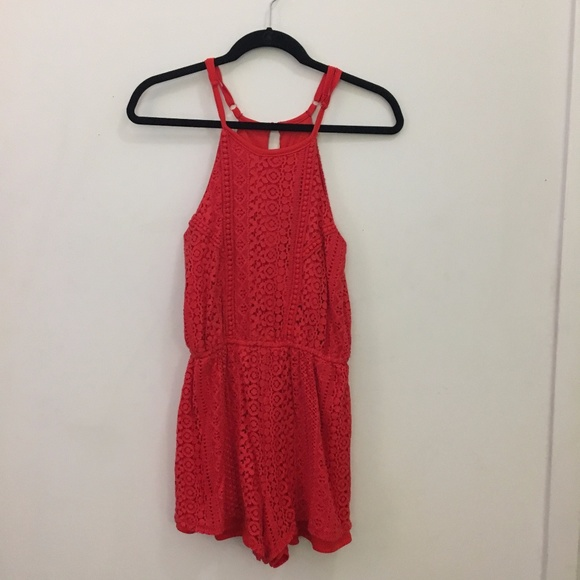 Francesca's Collections Dresses & Skirts - FRANCESCA'S Coral Lacy Romper