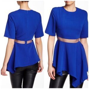 Gracia Blue Asymmetrical Sheer Mesh Waist Top