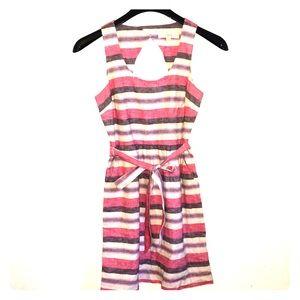 Ann Taylor Loft Linen Blend Striped Dress