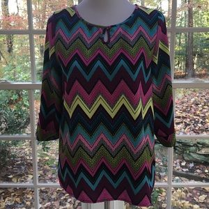 Tops - Chevron patterned top, keyhole neck, 3/4 sleeves