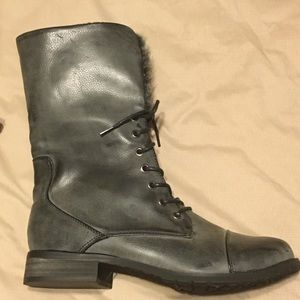 Women's Faded Black Faux Leather Boots