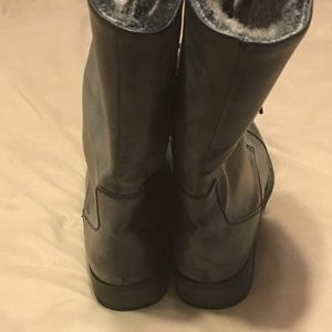 Shoes - Women's Faded Black Faux Leather Boots