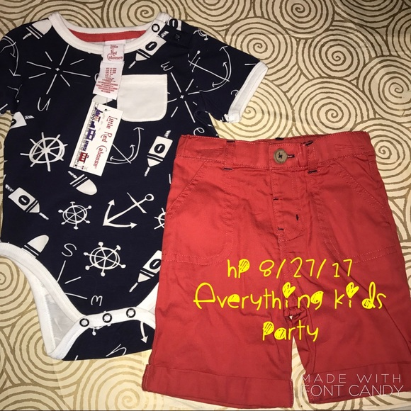 e2c4440227 BNWT Little Red Caboose Baby Onesie   Shorts