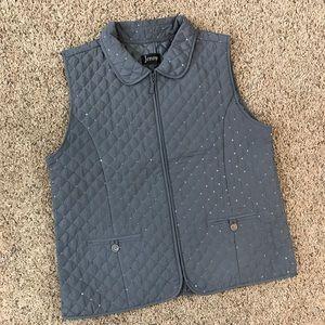 Jenny Gray Quilted Zip Vest