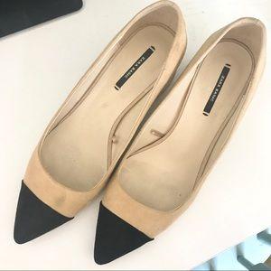 Zara cap toe block heels