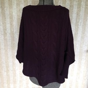 LOFT Sweaters - Eggplant colored cable knit sweater.