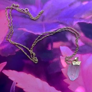 Jewelry - Raw Clear Quartz Necklace, Gold Setting