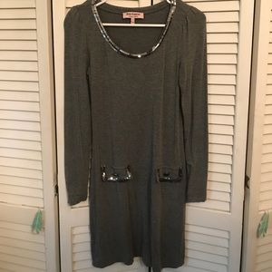 Juicy Couture 🏙 Sequin Gray Dress XS Long Sleeve
