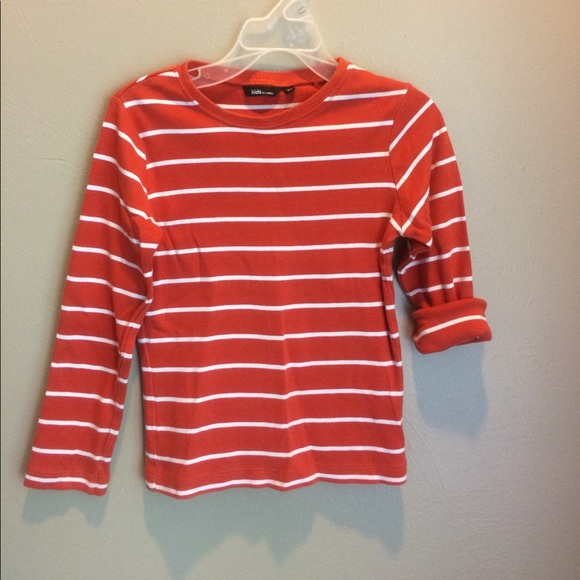 51751de4 kids by lindex Shirts & Tops | Orange And White Striped Shirt | Poshmark
