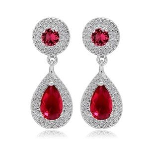Jewelry - Swarovski Crystals Kasidy  Red Earrings S18