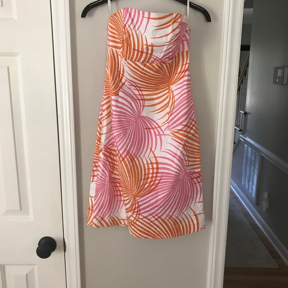 Melly M Pink and Orange Palm Print Dress