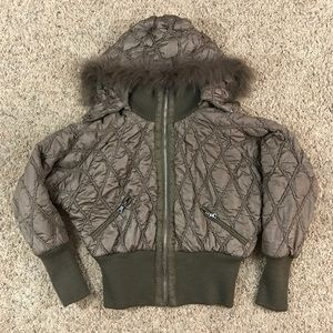 Just Design Brown Quilted Puffer Coat