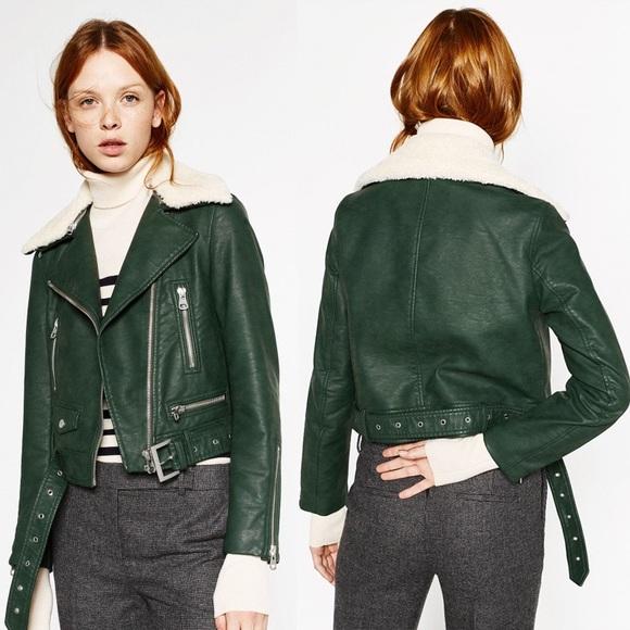 1a2df6c5 ZARA Green Faux Leather Biker Jacket Fur Collar. M_59a31710c28456a260063d8d