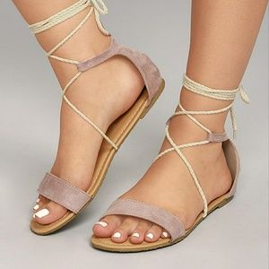 Lulu's Suede Lace-Up Sandals