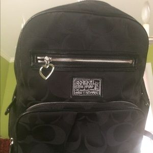 Coach backpack black fabric with Cs immaculate.
