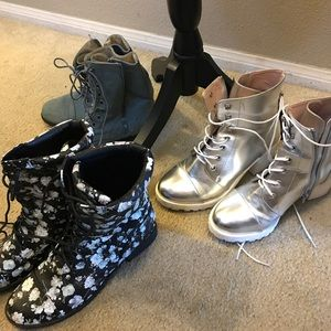 Shoes - Boot sale! Floral/flat booties./Silver 3""