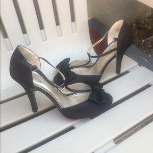 Black satin evening t-strap dress shoe