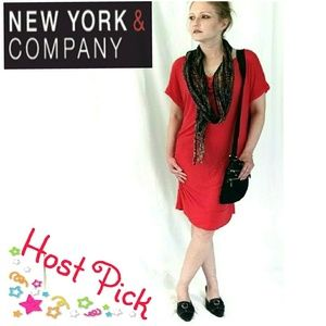New York & Company fire engine red sexyShirt Dress