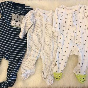 3 Carter's Footie Pajamas Bundle 9M