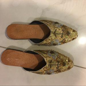 💎🆕Boho Authentic Gorgeous! Gold sequin slipper