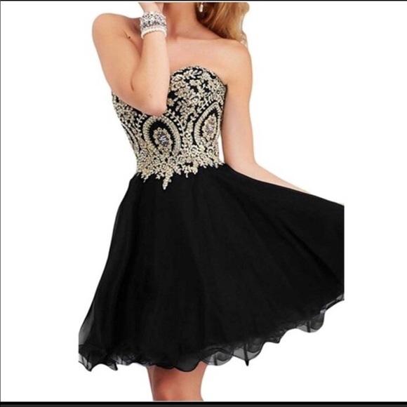 Dresses Black And Gold Homecoming Dress Poshmark