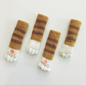 Accessories - Tabby Striped Cat Paw Floor Protector Chair Socks