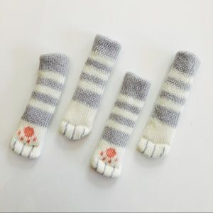 Accessories - Gray Striped Cat Paw Floor Protector Chair Socks