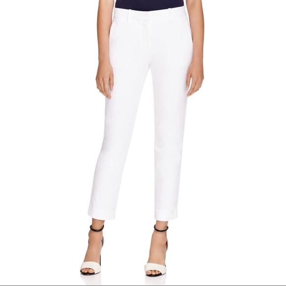 0805c0864f568 Theory Izelle C Cropped Pant in Jetty Fabric White