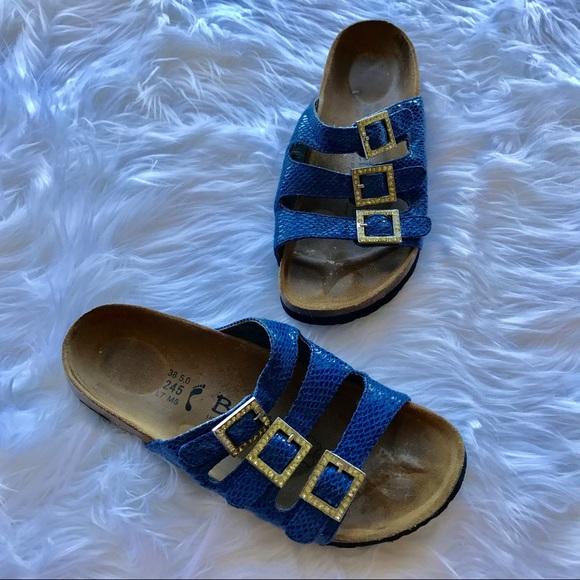 5a2291f6fcc566  Betula Birkenstock  Blue Strappy Jeweled Sandal