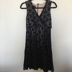 Lace black dress with bow