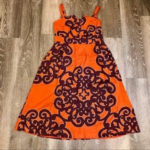 Gorgeous orange & purple midi pinup swing dress