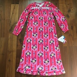 Disney Minnie Mouse Flannel Nightgown Size 8