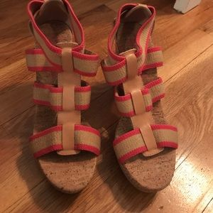 Shoes - Pink and beige wedges. WORN ONCE